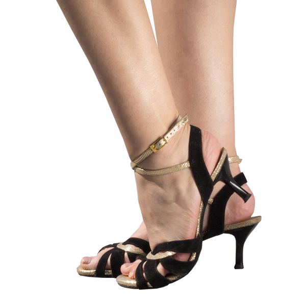 Ref 1207 Women shoes in black suede with gold leather black heels