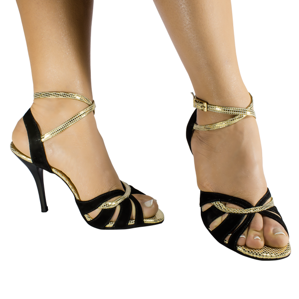 Ref 1207 women shoes in gold and black upper with black heel
