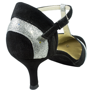Ref 272 Vibranto Shoes in black and silver. Heel detail