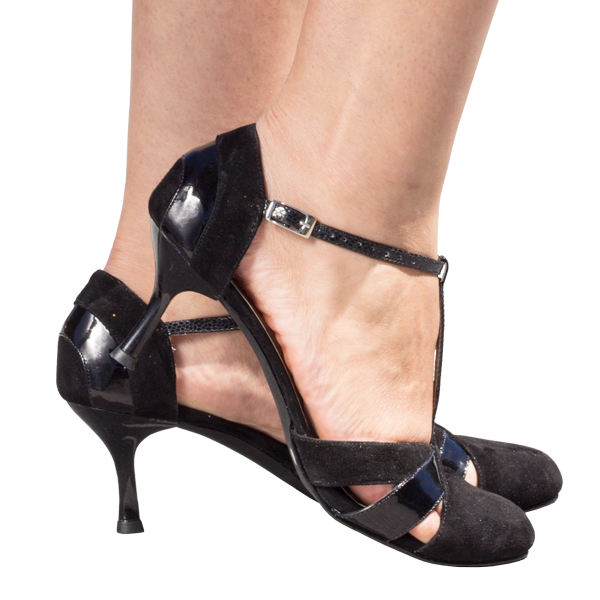 Ref 272 black suede and black patent leather.