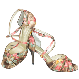 Ref 215 shoes in flowers pattern satin leather with golden heels