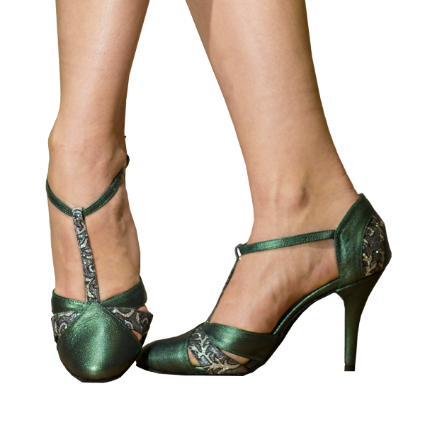 Ref272 Green leather high heels women shoes with silver strap