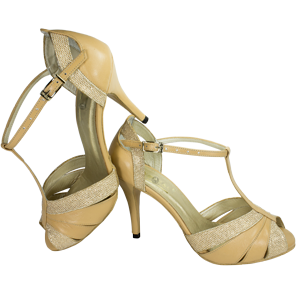 Ref289 in beige with shiny leather