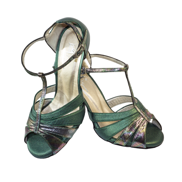 Ref 289 in petrol-looking leather and green. For those special gala or formal events.