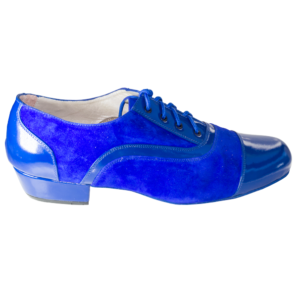 Ref 318 in Blue suede and shiny leather.