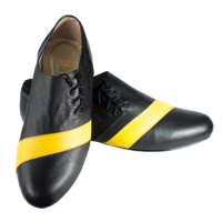 Ref 322 menshoes black with a yellow stripe.