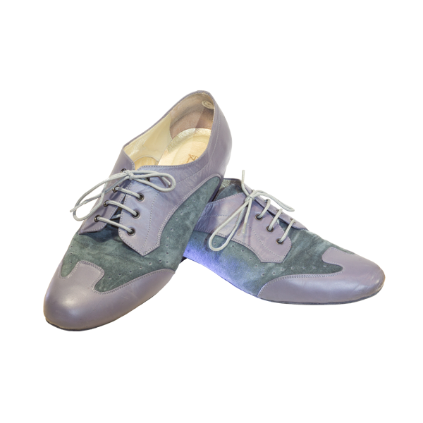 Ref 327 in grey leather with light blue suede