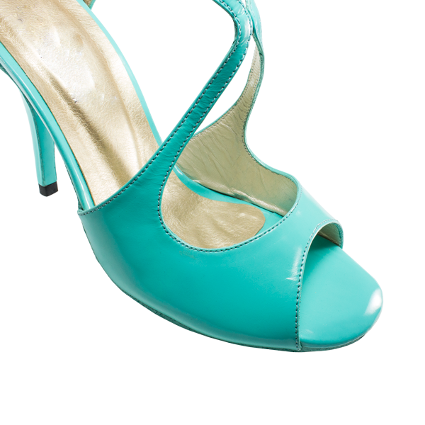 Ref 1203 in aquamarine patent leather