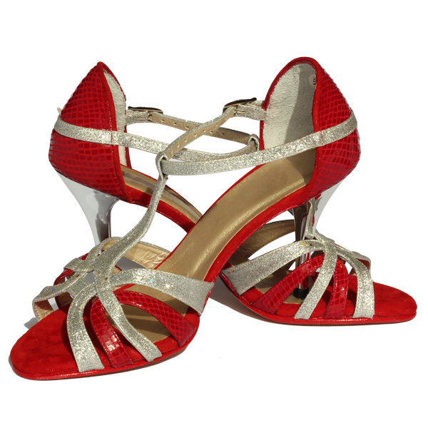 Ref T245C274 Vibranto Shoes in red and silver