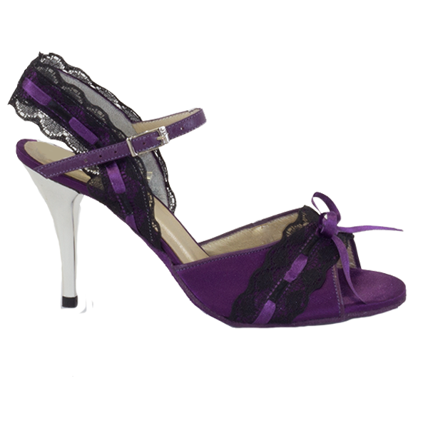Ref251 in purple with black lace and silver heel