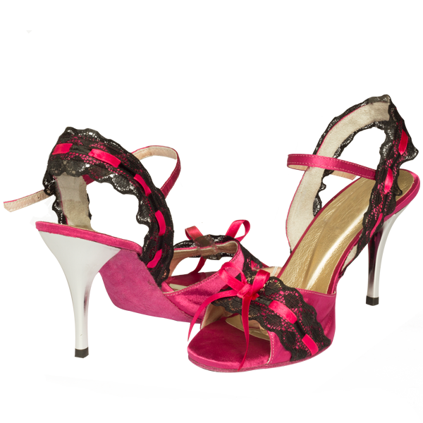 Ref251 in pink with black lace and silver heel