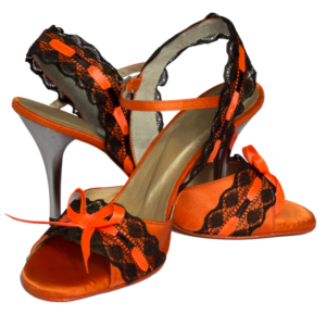 Ref251 in orange with black lace and silver heel