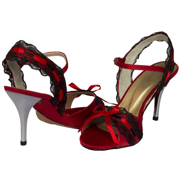 Ref251 in red with black lace and silver heel