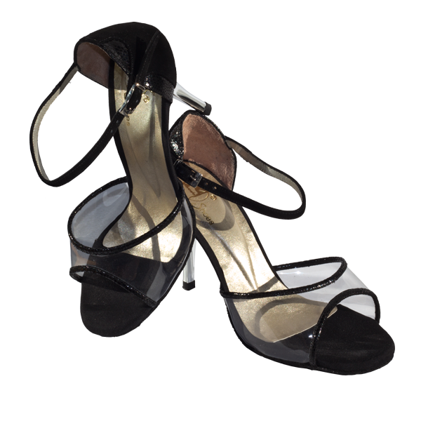 Ref T260 C251R counter in black with transparent vamp and silver heels