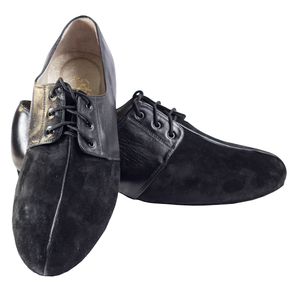 Ref 325 men shoes black suede and leather