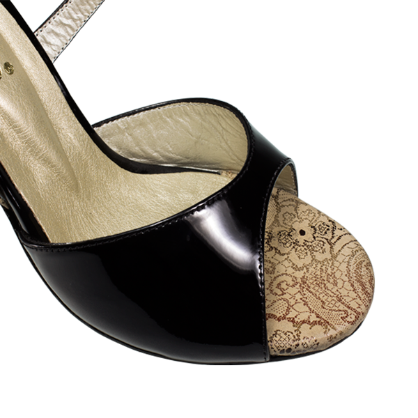 Vibranto Shoes Ref T281M C251D with black shinny leather and skin leather with gold pattern including the heels.