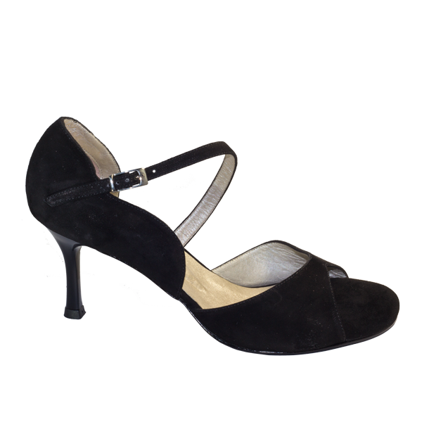 Vibranto Shoes Ref T281M C251D all in black suede and black heels.