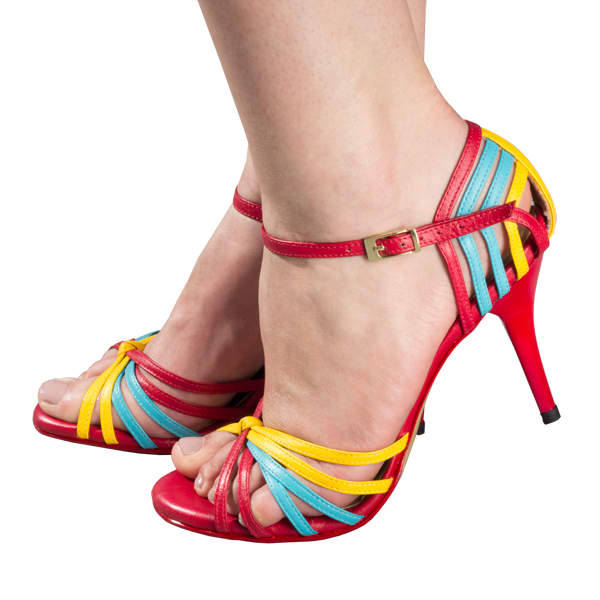 Women Shoes ref 249 in yellow, blue and red resembling the Colombian flag.