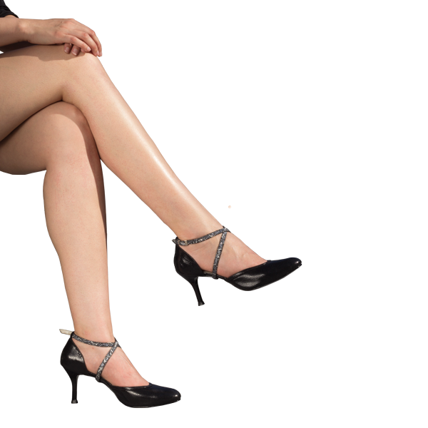 Ref 273 high heel shoes in black leather for corporate, office and formal events.