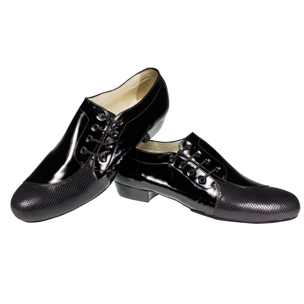 Ref 334 Vibranto menshoes in black shiny leather and folia-type leather on the toe cap