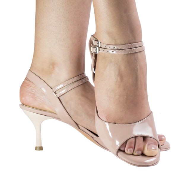 Ref 296 rose nude patent and double straps.