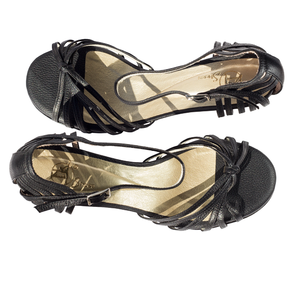 Ref 249 Black leather women shoes