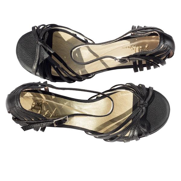 Ref 249 Black leather women shoes
