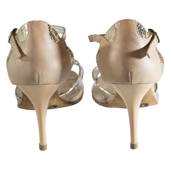 Ref T260 C251R in naughty nude leather and golden uranus with transparent vinyl vamp.