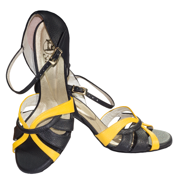 Ref T287D C1207 in black leather and yellow leather stripe