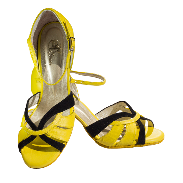 Ref T287D C1207 in yellow leather and black suede