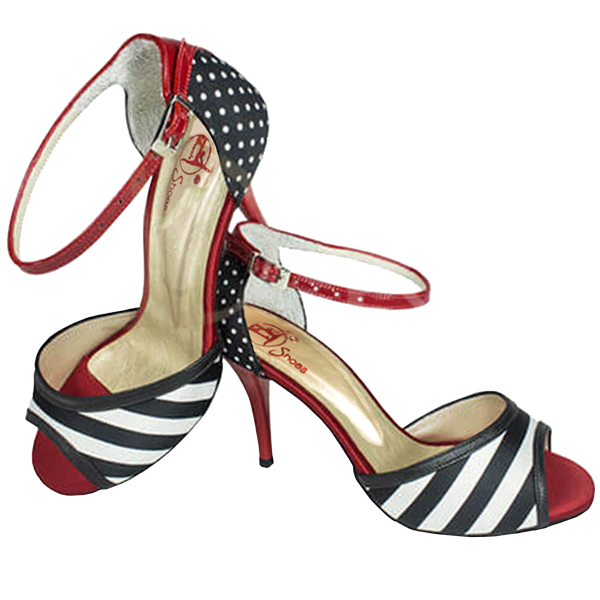 Ref T295 C251B red satin and patent with black and white satin.