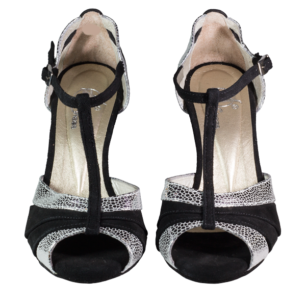Ref 289 women shoes in black suede and silver uranus leather