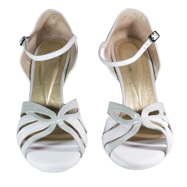 Ref T287D C1207 in white leather and silver satin folia