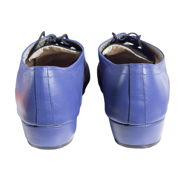 Men shoes Ref 327 in blue leather and black suede