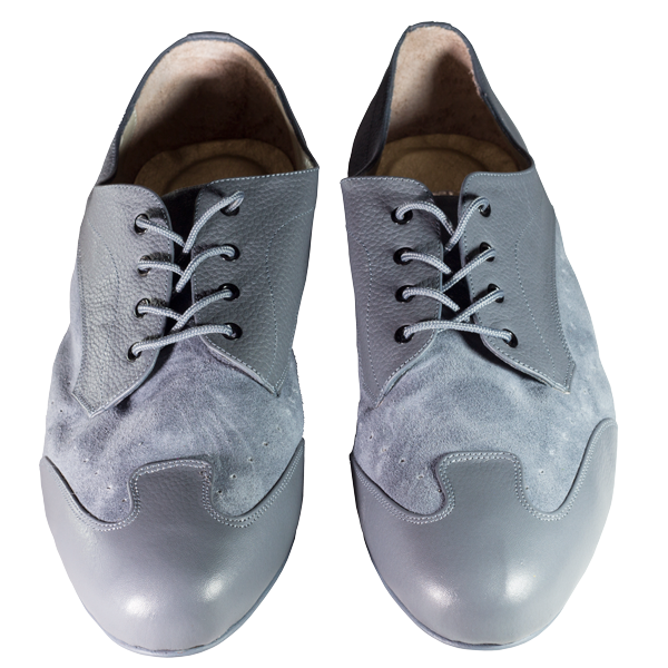 Men shoes Ref 327 in grey leather and light grey suede