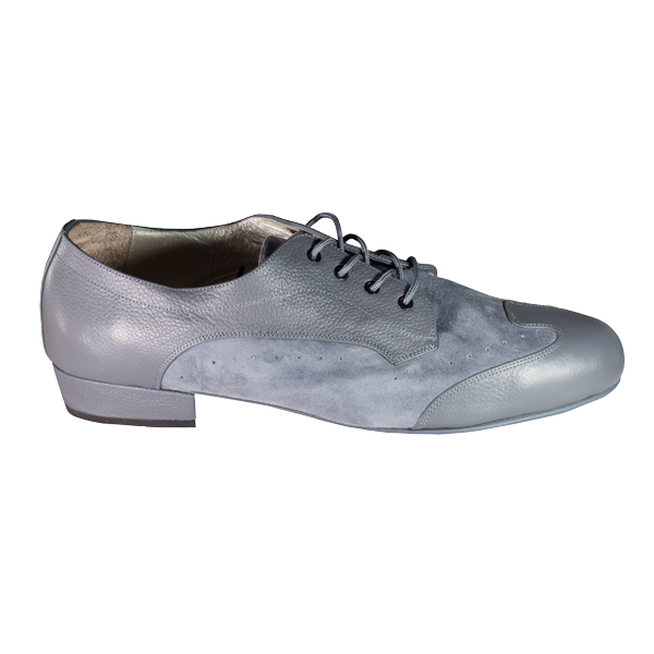 Men shoes Ref 327 in grey leather and grey suede