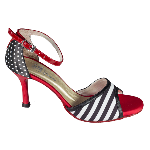 Ref T295 C251B women shoes in red satin and black and white