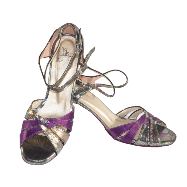 Ref T276 C215 petrol-type leather and purple satin