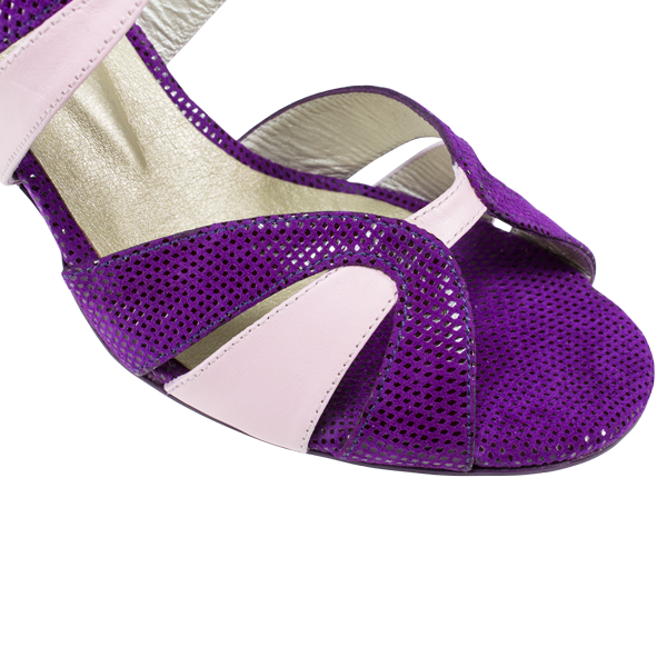 Ref 293 women shoes in purple folia and ivory white leather