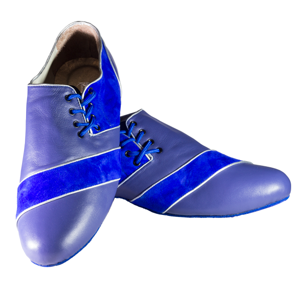 Ref 322 menshoes King blue leather and king blue suede leather