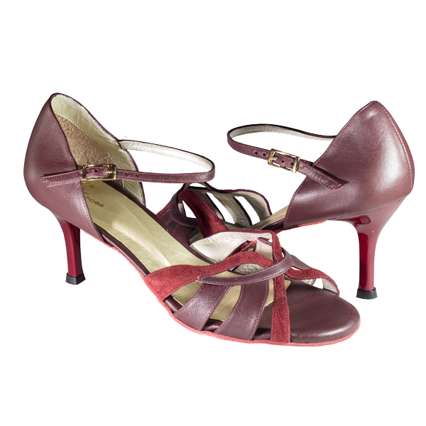 Vibranto Shoes Ref T287D C1207 maroon leather with a stripe on suede leather