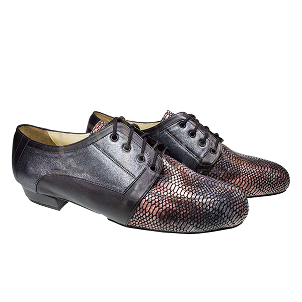 Ref 336 men shoes in black metallic leather and black leather with vamp in python pattern colours