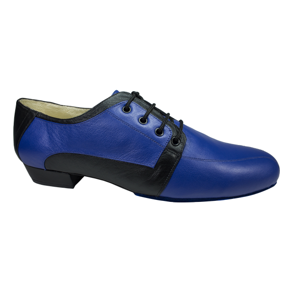 Ref 336 men shoes in king blue leather and black leather