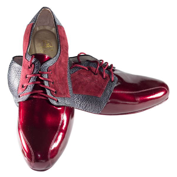 Ref 336 maroon patent leather, suede and black cobweb leather.