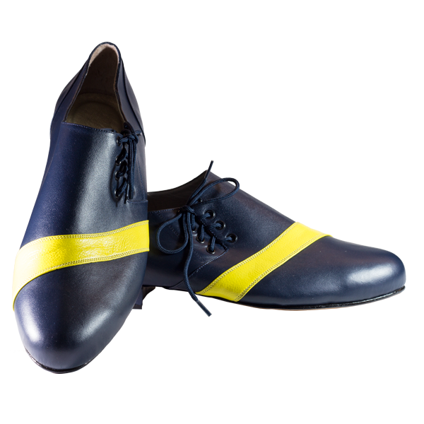 Ref 322 in dark blue and yellow leather stripe
