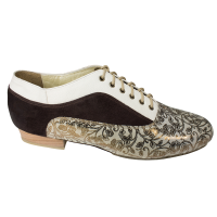 Tribal Incense leather vamp men shoes ivory leather and brown suede