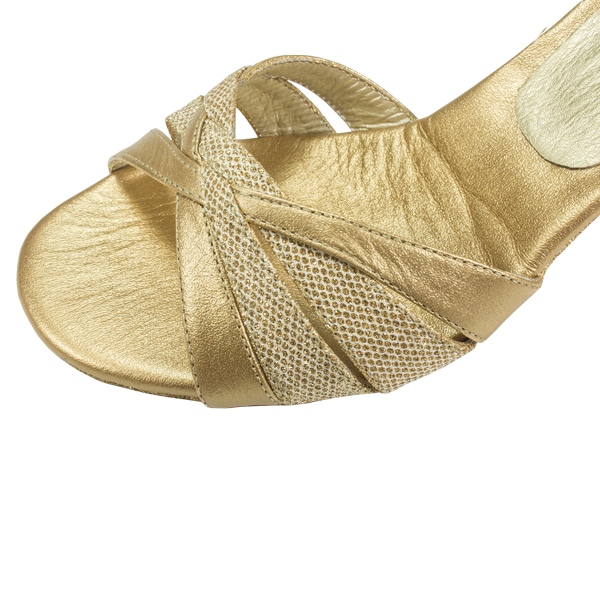 Ref 260 Women Shoes golden leather with gold beehive lame
