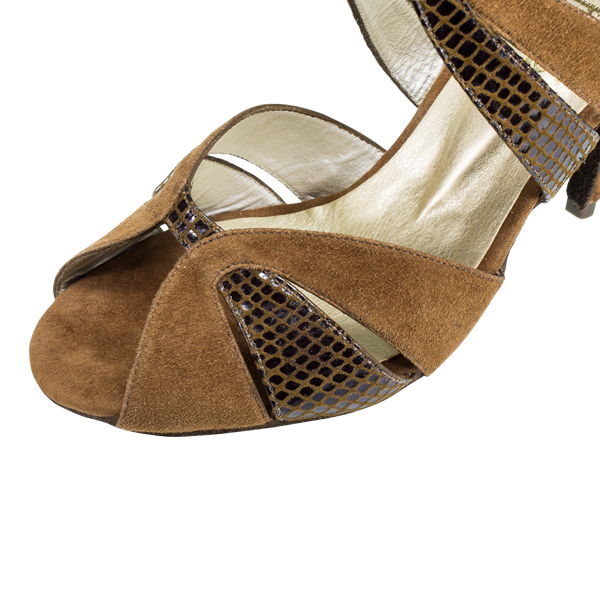 Ref 293 Women Vibranto Shoes in brown lame leather and suede