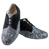 Vibranto men Shoes Ref 302 in clover pattern on black-silver glitter and black suede leather