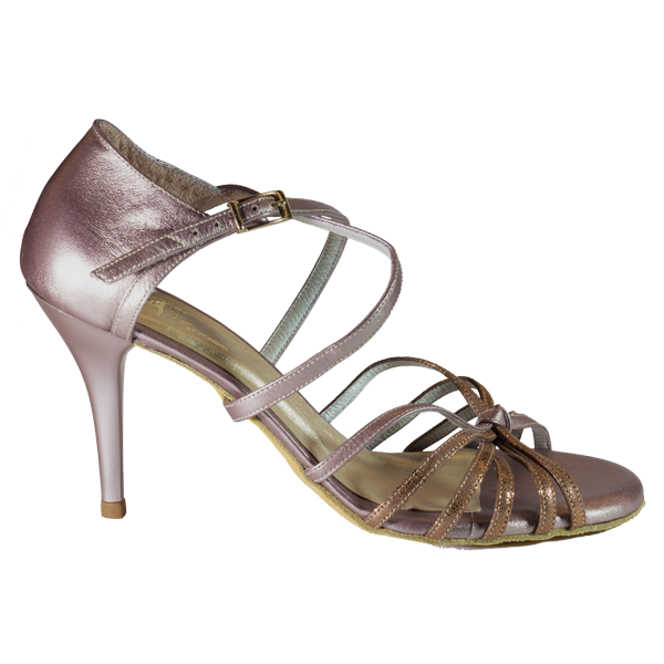 Ref T264 C249 with vamp in synthetic bronze leather and golden rose in the counter